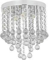 HOME Faith Beaded Droplet 3 Light Flush Ceiling light-Clear