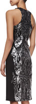 David Meister Sequined Panel Cocktail Dress