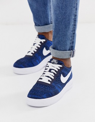 Nike force 1 flyknit trainers in navy