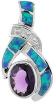 Sabrina Silver Sterling Silver Amethyst CZ Pendant Synthetic Opal Inlay 7x9 mm Oval 1 1/8 inch long
