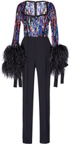 Elie Saab Bead and Feather Embroidered Jumpsuit