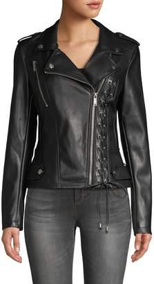 Karl Lagerfeld Paris Lace-Up Faux Leather Jacket