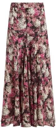 Raey Bias Godet Ditsy Floral Print Silk Slip Midi Skirt - Womens - Pink Print