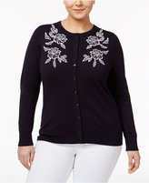 Charter Club Plus Size Floral Cardigan, Only at Macy's