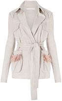 Diane von Furstenberg Geraldine Fringe Pocket Linen Jacket