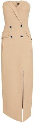David Koma Strapless Tweed Midi Dress