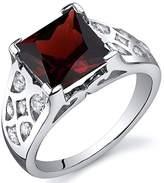 Peora Garnet Ring Sterling Silver Rhodium Nickel Finish Princess Cut 3.00 Carats Size 8