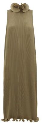 Tibi Ruffled Plisse Midi Dress - Womens - Green