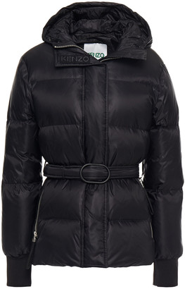 Kenzo Belted Quilted Neon Shell Hooded Down Jacket