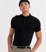 Asos Design ASOS DESIGN Tall oganic muscle fit roll sleeve polo in black