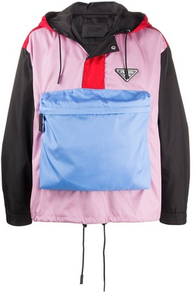 Prada Colour-Block Pocket Hoodie