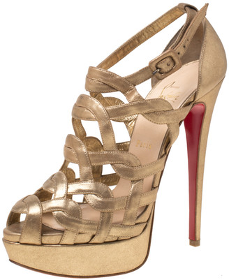 Christian Louboutin Gold Strappy Leather Ankle Strap Platform Sandals Size 39