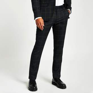 River Island Mens Green check skinny fit suit trousers