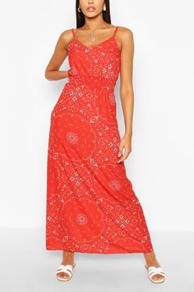 boohoo Paisley Scarf Print Shirred Maxi Dress