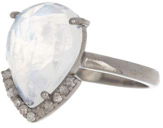 ADORNIA Sterling Silver Pear Cut Ring with Diamond Tip Moonstone - 0.1 CTW