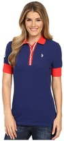 U.S. Polo Assn. Striped Placket Stretch Pique Polo Shirt