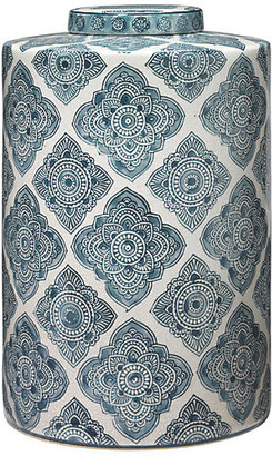 """Jamie Young 13"""" Oran Canister - Blue/White"""