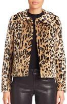 Alice + Olivia Jerrie Faux Fur Leopard-Print Jacket
