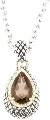 Candela Andrea Regalo Silver & 18K 3.87 Cttw. Diamond & Smoky Quartz Pendant