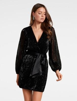 Forever New Di Sequin Mini Dress - Black - 6