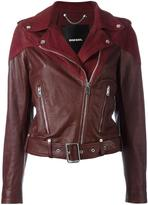 Diesel 'Cygni' biker jacket - women - Cotton/Goat Skin/Sheep Skin/Shearling/Polyester - XS