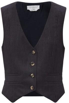 Gabriela Hearst Zelos Pinstriped Wool-blend Waistcoat - Navy White
