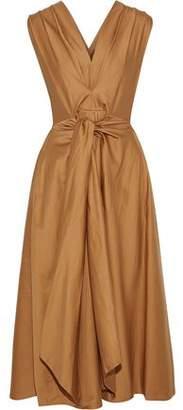 Tome Tie-front Pleated Cotton-poplin Midi Dress