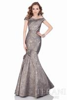 Terani Evening - Glamorous Tonal Marble Off The Shoulder Long Mermaid Gown 1621E1474