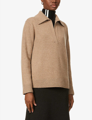 Vince Collared wool and cashmere-blend top