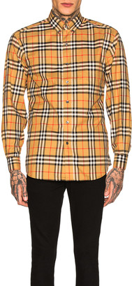 Burberry Long Sleeve Vintage Check Shirt in Antique Yellow Check | FWRD