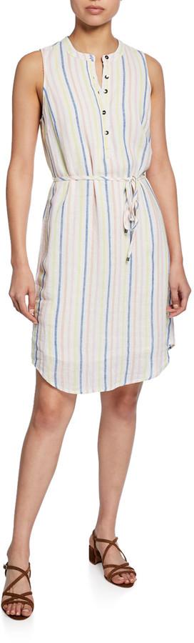 Splendid Striped Button-Front Sleeveless Dress