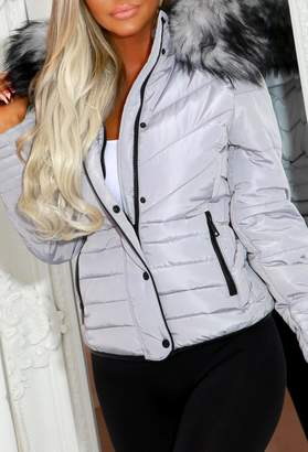 Pink Boutique Jaymie Grey Padded Coat With Black Button And Binding Detail