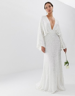 Asos Edition EDITION sequin kimono sleeve wedding dress-White