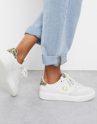 Fred Perry B300 embossed leather sneaker with snake skin print