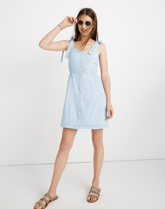 Madewell Denim Tie-Strap Button-Front Sundress in Morley Wash