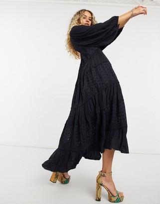 Free People Mockingbird maxi dress in black