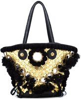 Figue medium 'Tuk Tuk' embellished tote - women - Cotton/Leather/Acrylic/glass - One Size
