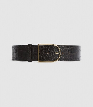 Reiss Isabelle - Leather Crocodile Patterned Belt in Chocolate