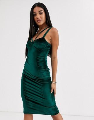 ASOS DESIGN velvet strappy cupped midi dress