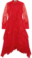 Erdem Nigella Ruffled Lace Dress - Red