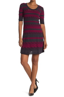 M Missoni Patterned Elbow Sleeve Dress
