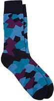 Corgi Men's Camouflage Cotton-Blend Mid-Calf Socks-BLUE