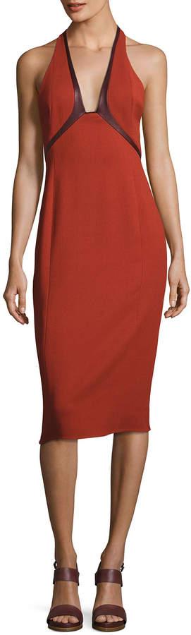 Narciso Rodriguez Sleeveless Leather-Tipped Sheath Dress, Orange/Purple