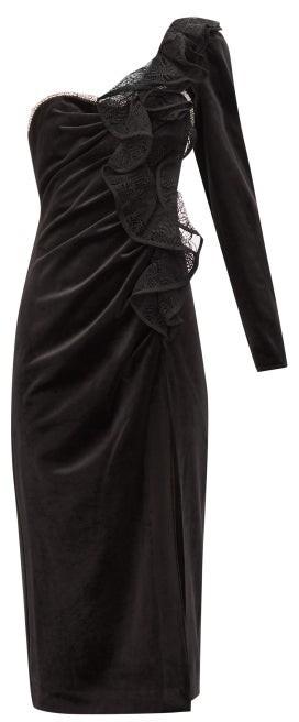 Self-Portrait Self Portrait Ruffled One-shoulder Velvet Midi Dress - Womens - Black