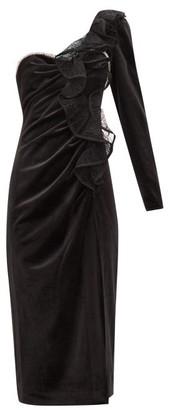 Self-Portrait Ruffled One-shoulder Velvet Midi Dress - Black