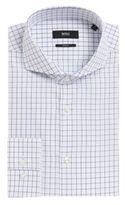 Hugo Boss Dwayne Slim Fit, Italian Cotton Textured Dress Shirt 14.5 Blue