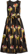 Dolce & Gabbana Embellished Printed Silk-organza Midi Dress - Black
