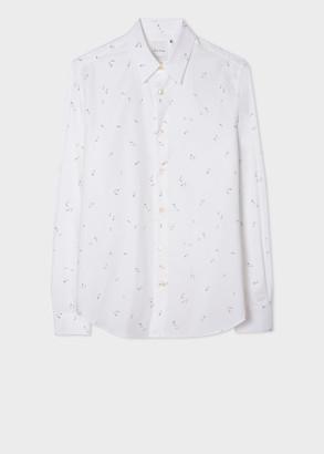 Paul Smith Men's Slim-Fit White 'Safety Pins' Print Cotton Shirt