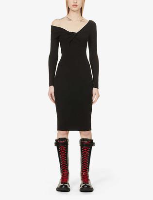 Alexander McQueen Twist-knot front wool midi dress