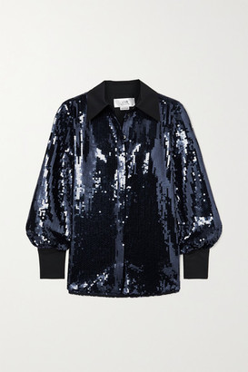 Victoria Victoria Beckham Satin-trimmed Sequined Tulle Shirt